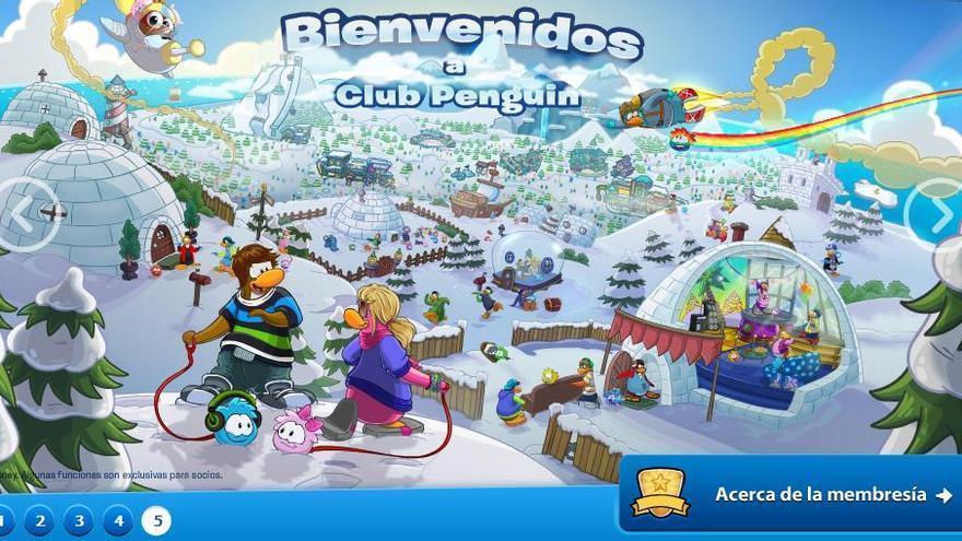 El Club Penguin es una plataforma de juegos para niños de Disney