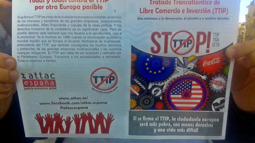 Folleto informativo contra el Tratado de Libre Comercio