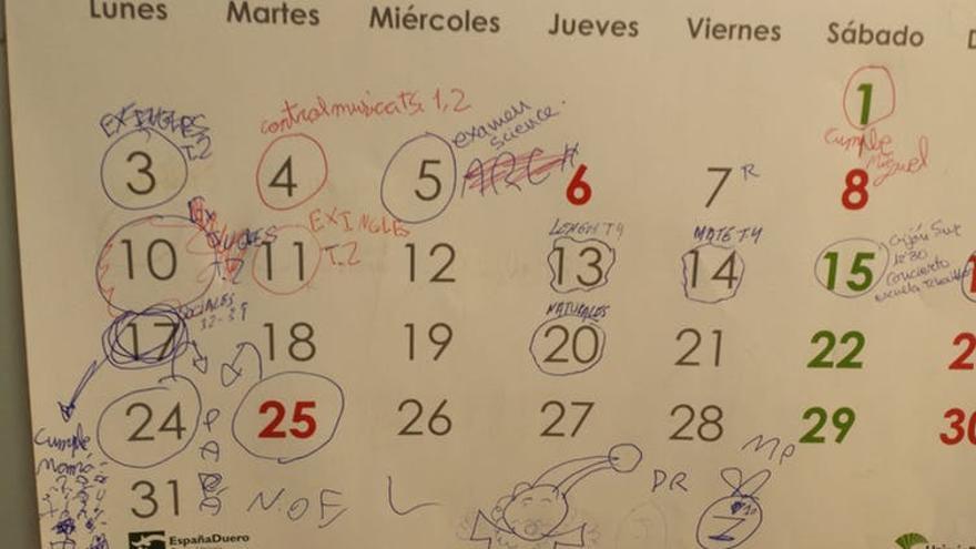 Calendario de exámenes de estudiantes de educación primaria