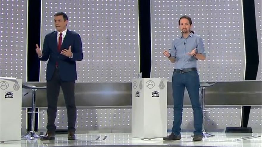 Pedro Sánchez y Pablo Iglesias al arrancar el debate a cuatro de la campaña del 20D