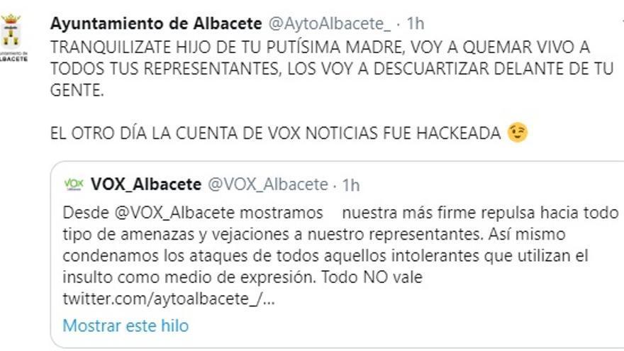 Captura de la cuenta del Ayuntamiento de Albacete hackeada