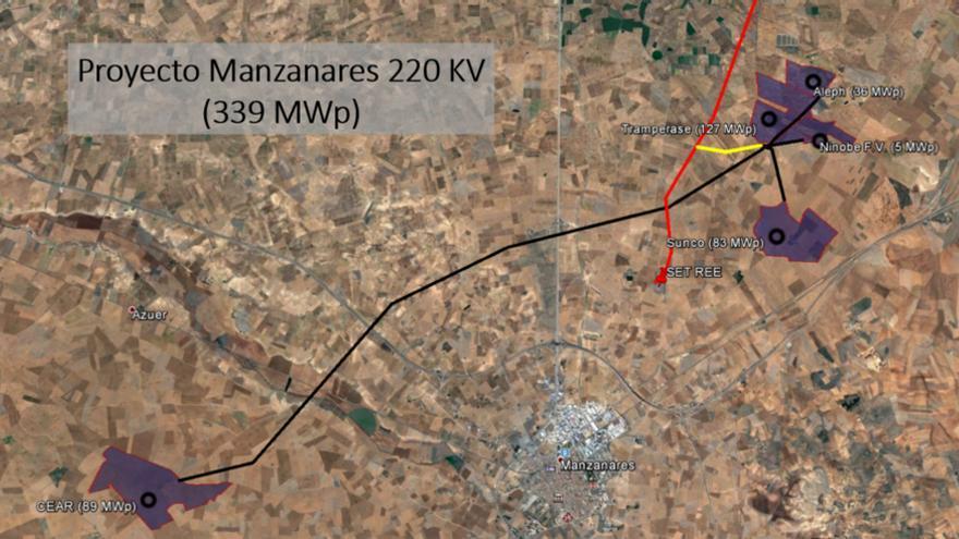 Mapa de proyectos fotovoltaicos en Manzanares