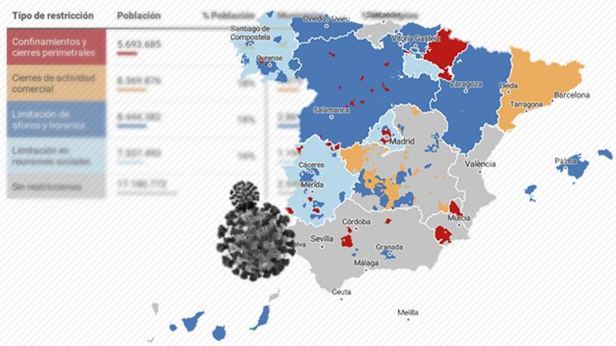 MAPA | Las restricciones para atajar la expansión del coronavirus, municipio a municipio