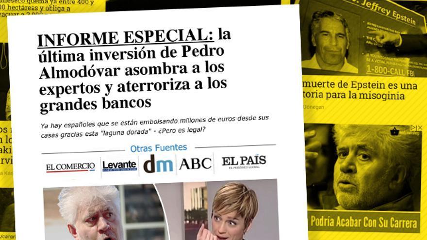El anuncio fraudulento con la imagen de Pedro Almodóvar apareció en la portada de eldiario.es