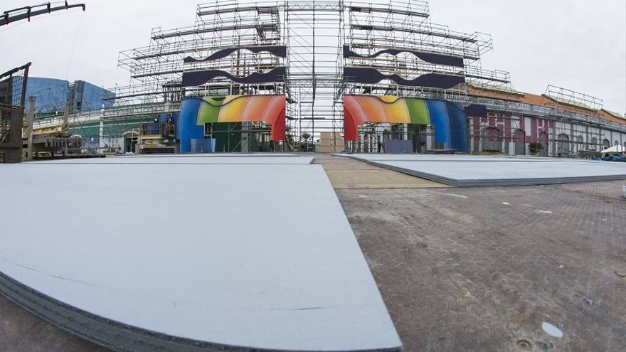 Montaje del escenario del Carnaval de Las Palmas de Gran Canaria 2017