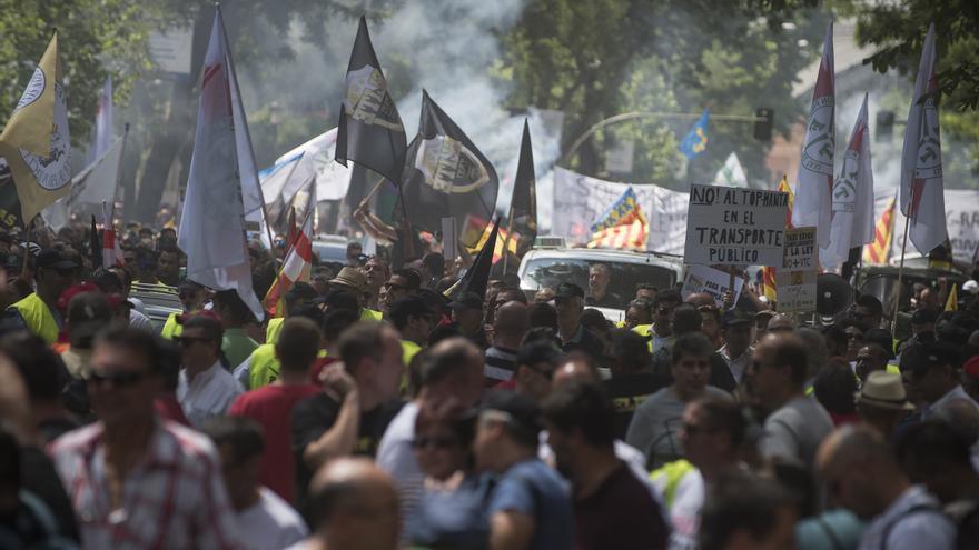 Protesta de taxistas en Madrid el martes 30 de mayo.