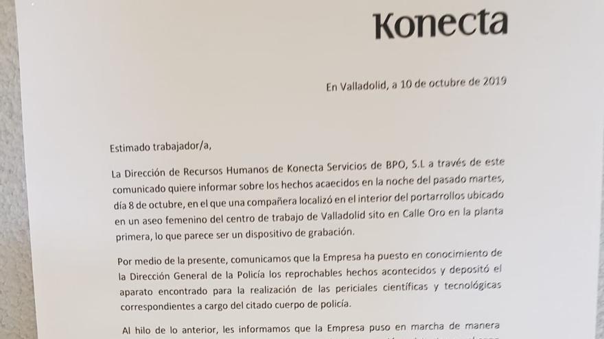Comunicado de la dirección de recursos humanos de Konecta a los trabajadores.