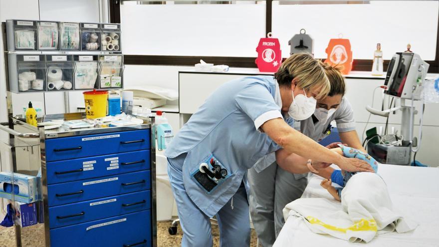 Simulacro realizado en la sala de tratamientos del Hospital de Día Pediátrico del Área de Salud de Tudela.