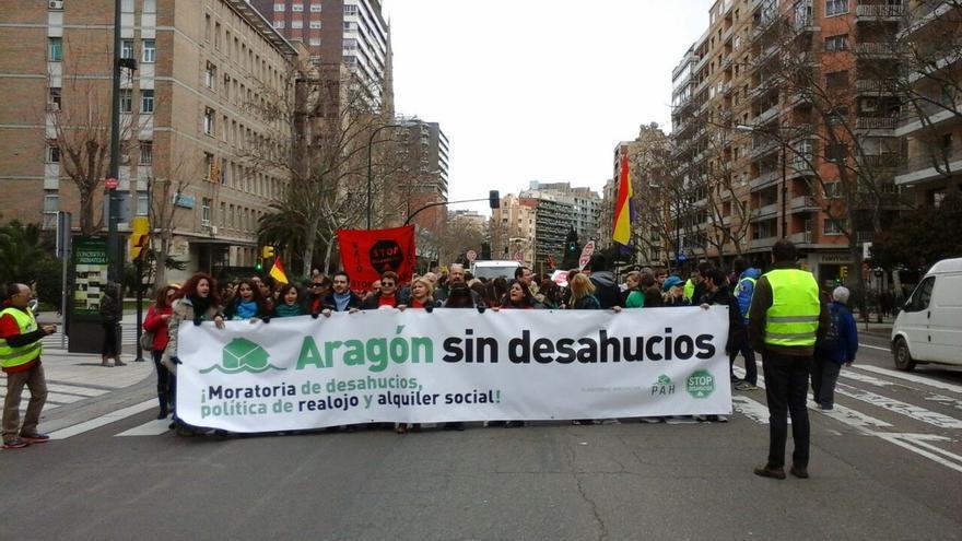 """""""2015, Aragón sin desahucios"""" es la última campaña de la plataforma. Foto: Stop Desahucios Zaragoza"""