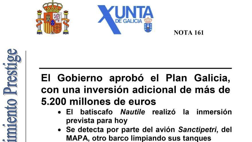 Nota difundida por la Xunta y el Gobierno central sobre la aprobación del Plan Galicia en enero de 2003
