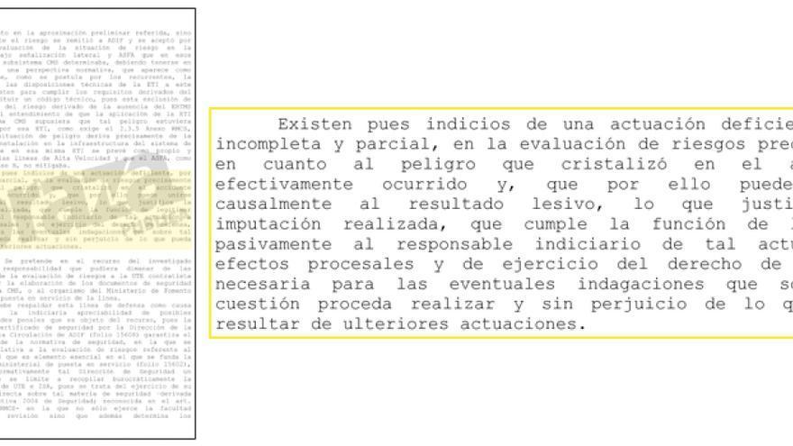 Fragmento del auto que ratifica la imputación de Andrés Cortabitarte