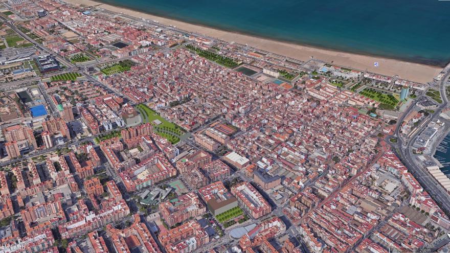 Imagen virtual del Plan del Cabanyal con el paseo marítimo de fondo