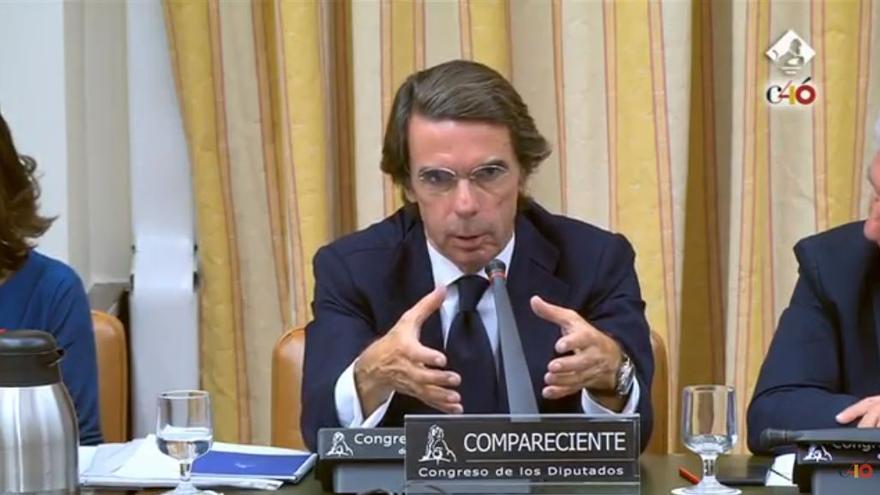 José María Aznar comparece en la comisión de investigación sobre la financiación ilegal del PP.