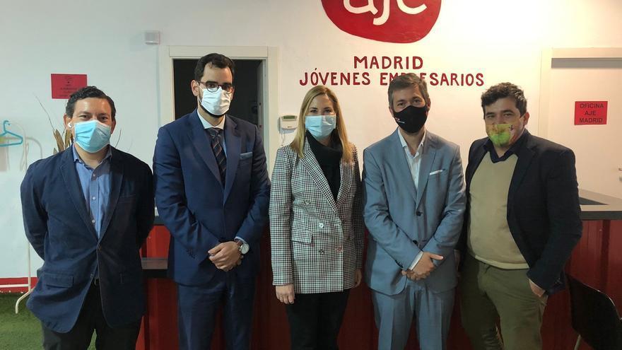 La vicesecretaria de Organización del PP, Ana Beltran, mantiene un encuentro con la Asociación de Jóvenes Empresarios de Madrid (AJE). En Madrid, a 27 de abril de 2021.