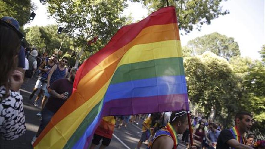 La bandera del arcoiris ha teñido Madrid de color. Foto: EFE