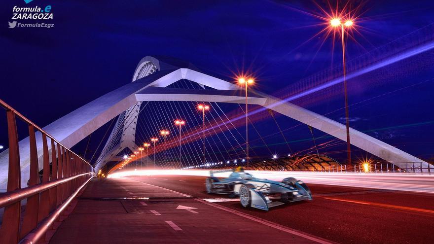 El circuito a su paso por el puente del Tercer Milenio. Foto: formulaezaragoza.tk