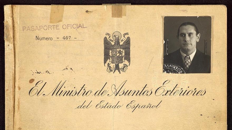 Pasaporte de Pedro Urraca Rendueles en 1939.