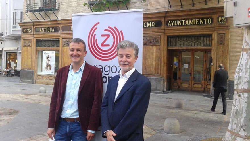 Fernando Rivarés (izqda), junto a Pedro Santisteve, candidato a la alcaldía de Zaragoza