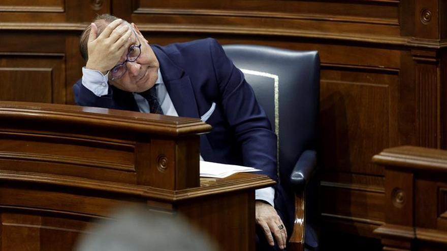 José Manuel Baltar, durante el pleno del Parlamento canario