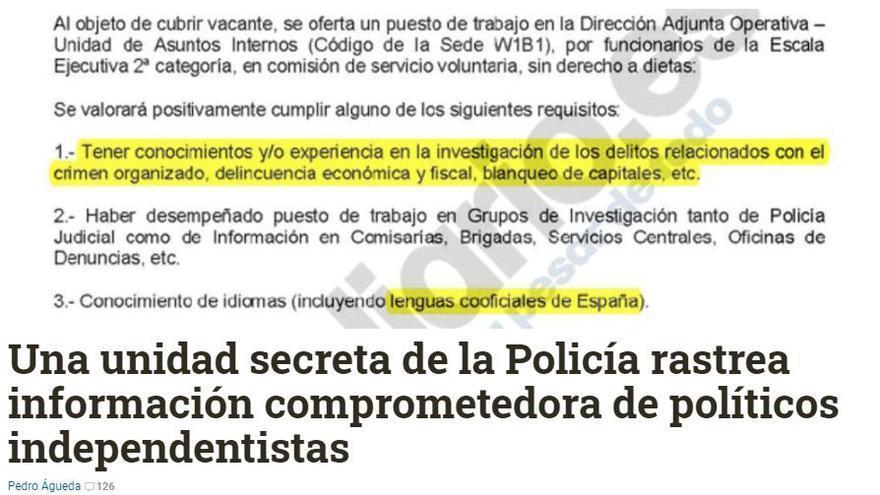 Captura de la información publicada el 30 de noviembre de 2014 por eldiario.es