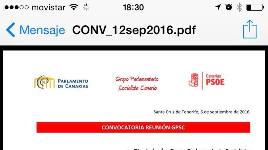 Convocatoria del Grupo Socialista para el 12 de septiembre.