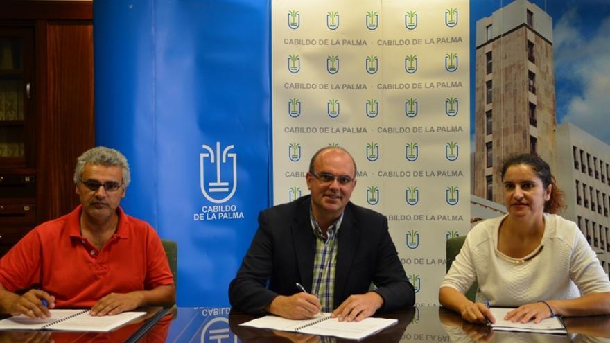 En la imagen, Eduardo Calderón, Anselmo Pestana y Jovita Monterrey.