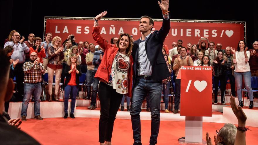 Pedro Sánchez y Susana Díaz en un acto en Alcalá la Real (Jaén)