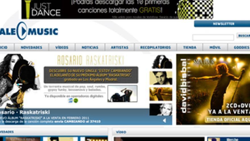 Captura de la página web de Vale Music