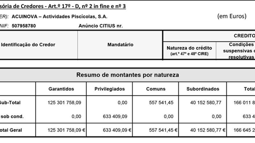 Detalle de las deudas de Acuinova, incluído en la documentación del juzgado de Coimbra