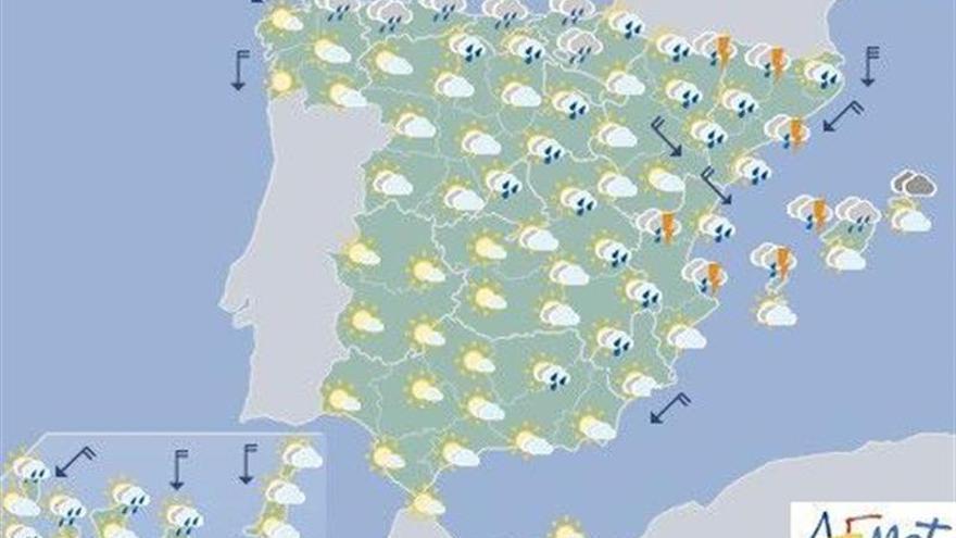 Hoy, precipitaciones fuertes en el este peninsular y en Baleares
