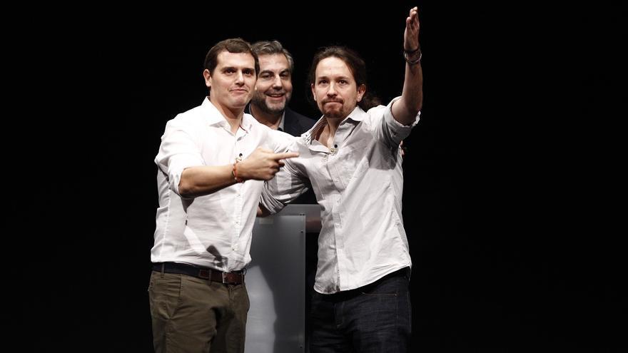 Pablo Iglesias y Albert Rivera, en un debate previo a las elecciones generales de 2015.