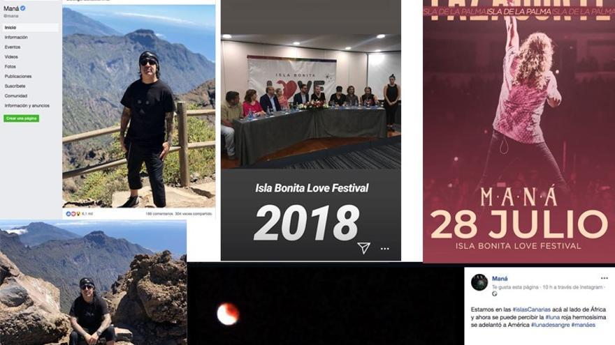 Collage de las redes sociales  de Maná con imágenes de La Palma.