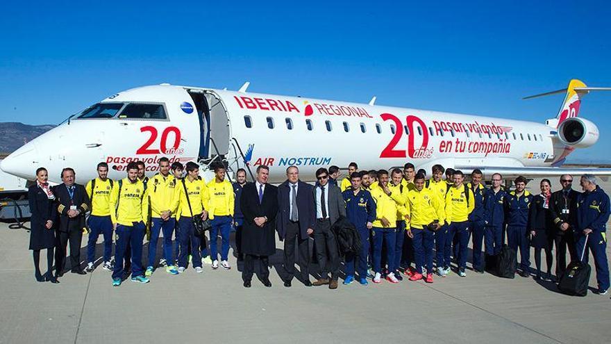 El equipo del Villarreal ha estrenado el aeropuerto de Castellón