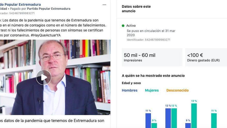 Estadísticas de impacto (en el momento de publicación de esta noticia) de uno de los anuncios en Facebook para atacar al Gobierno pagados por Monago.