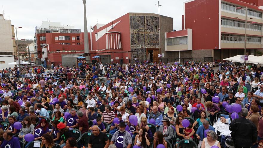 Plaza del Pilar de Las Palmas de Gran Canaria durante el mitin de Podemos en junio de 2016