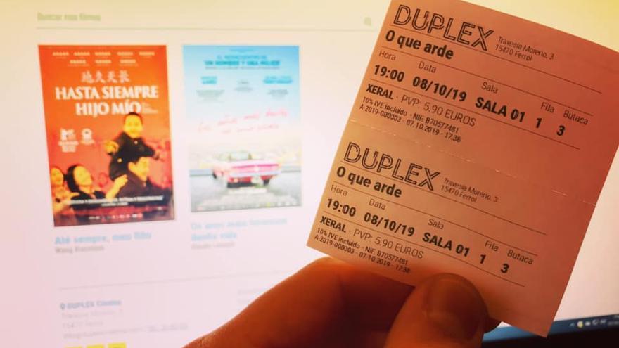 Prueba de impresión de las primeras entradas de los cines Dúplex de Ferrol