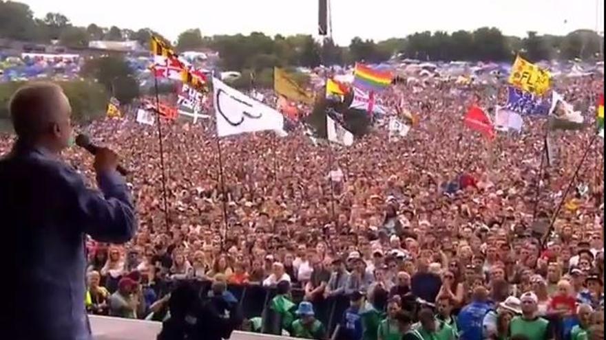 Jeremy Corbyn en el festival de Glastonbury