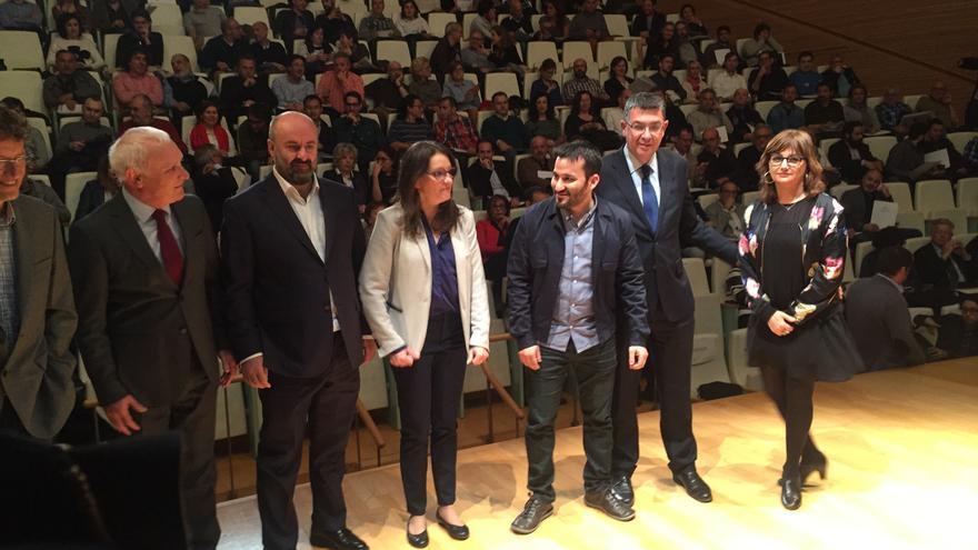 Mónica Oltra, vicepresidenta de la Generalitat, Vicent Marzà, conseller de Educación, Enric Morera, president de las Corts Valencianes, y Carmen Amoraga, directora general de Cultura, en la presentación de Fer Cultura.