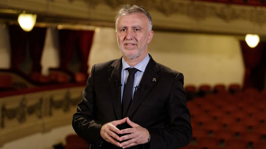 El presidente de Canarias, Ángel Víctor Torres, durante el discurso por el Día de Canarias.