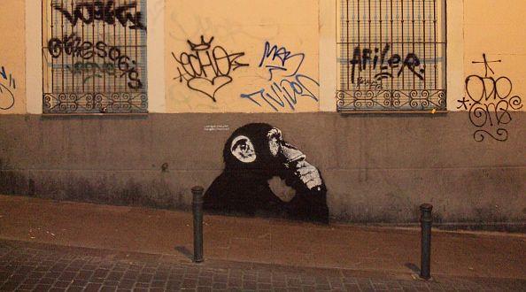 Chimpancé de Noaz en la calle de San Andrés con la frase '¿En qué piensan los políticos'?