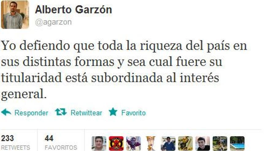 Twitter Alberto Garzón. \ Perlas
