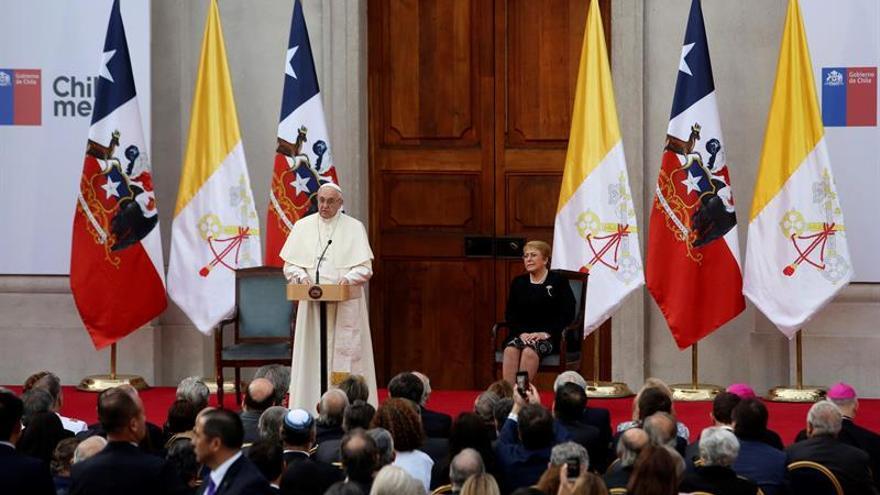 El papa Francisco en su intervención en La Moneda en Chile.