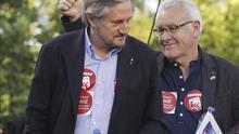 Willy Meyer y Cayo Lara, en la campaña electoral.