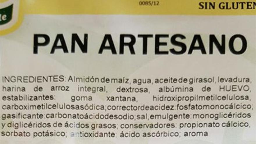 Ingredientes de un pan de supermercado. (Cedida a CA).