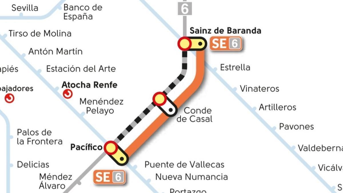 Corte del Metro en la Línea 6 previsto del 1 al 31 de julio de 2021 y servicio alternativo de bus
