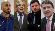 Nacho Álvarez (Podemos), Luis Garicano (Ciudadanos), Eduardo Garzón (IU) y Jordi Sevilla (PSOE)