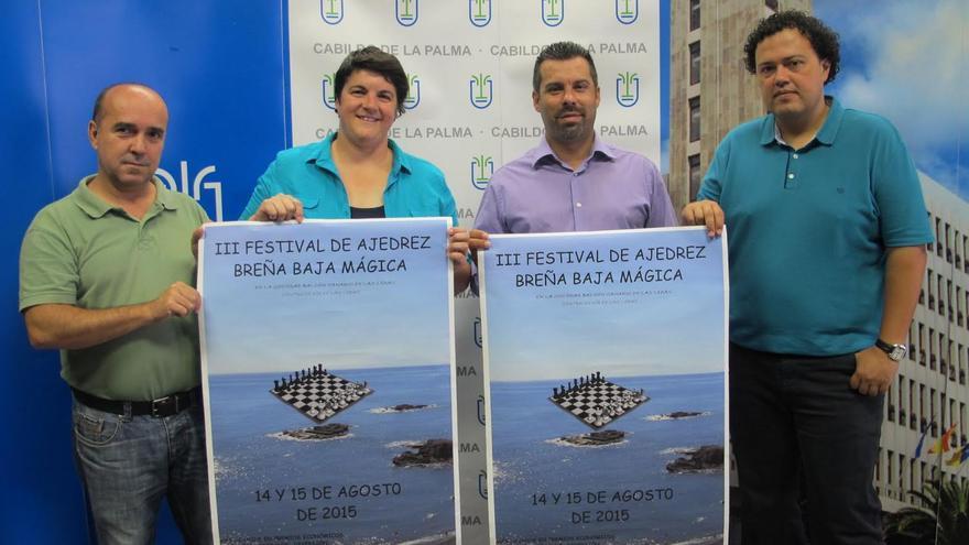 De izquierda a derecha: José Carlos Martín, Ascención Rodríguez, Juan Manuel Pérez y Gustavo de la Cruz, este viernes, en la presentación del tercer 'Festival de Ajedrez Breña Baja Mágica'.