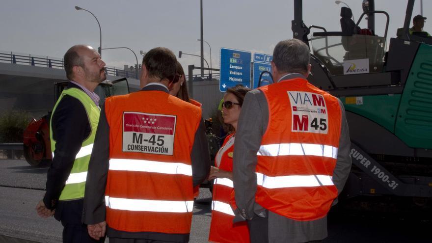 Obras de realfalto de la M-45 entre O´Donnell y la A-4. / Madrid. org