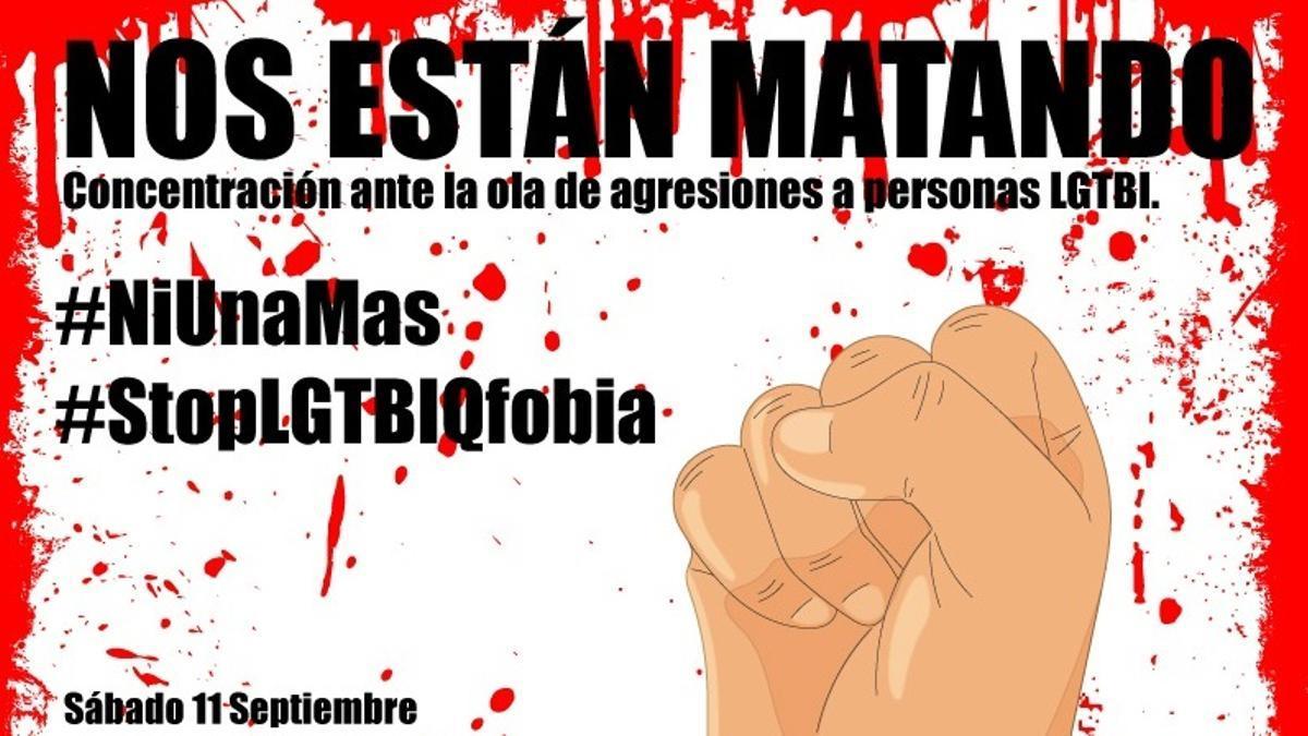 Detalle del cartel de la concentración contra la homofobia en Madrid