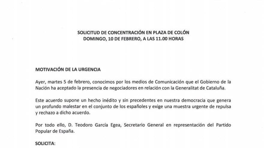 El PP solicita a Delegación de Gobierno la celebración de una concentración este domingo